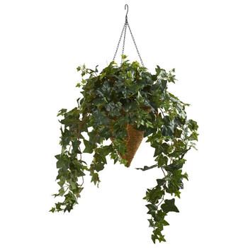 Ivy Artificial Plant in Cone Hanging Basket Basket - SKU #8242
