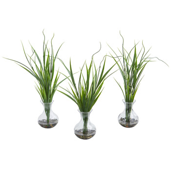 Grass Artificial Plant in Vase Set of 3 - SKU #8246-S3