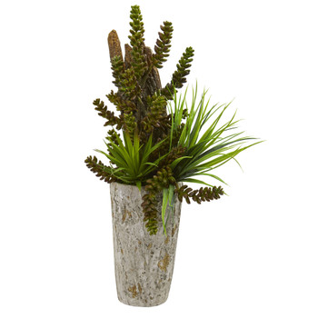 Succulent and Grass Garden Artificial Plant in Weathered Planter - SKU #8250