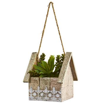 Succulent Garden Artificial Plant in Birdhouse Hanging Planter - SKU #8254
