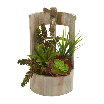 Succulent Garden Artificial Plant in Decorative Planter - SKU #8256