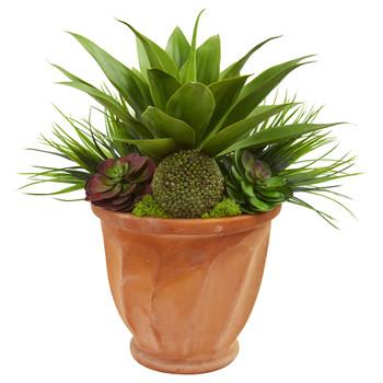 Succulent Garden Artificial Plant in Terra Cotta Planter - SKU #8257