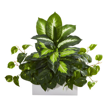 Golden Dieffenbachia Pothos Artificial Plant - SKU #8262