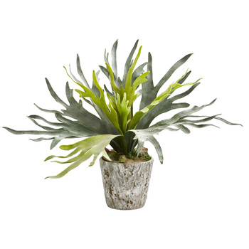 Staghorn Artificial Plant in Weathered Oak Planter - SKU #8268