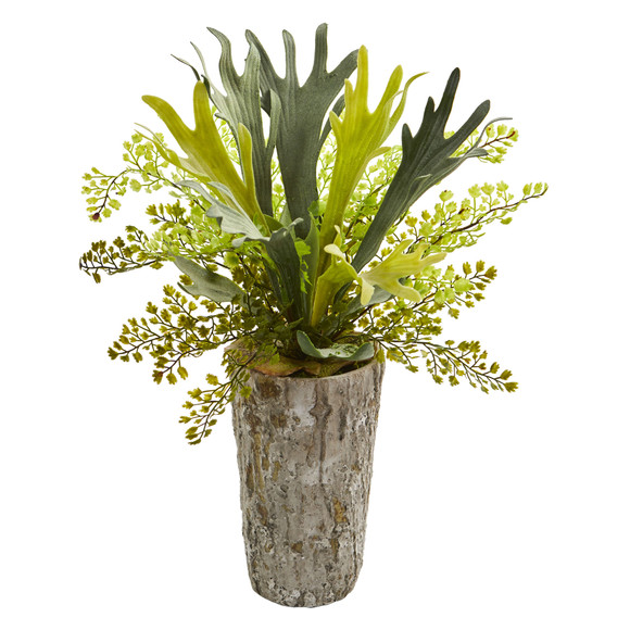 19 Staghorn and Maiden Hair Fern Artificial Plant in Weathered Vase - SKU #8271