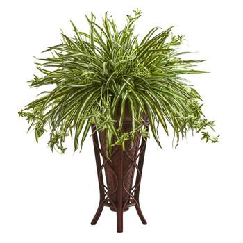 37 Spider Artificial Plant in Decorative Stand Planter - SKU #8272