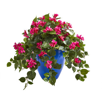 Bougainvillea Artificial Plant in Blue Planter - SKU #8273