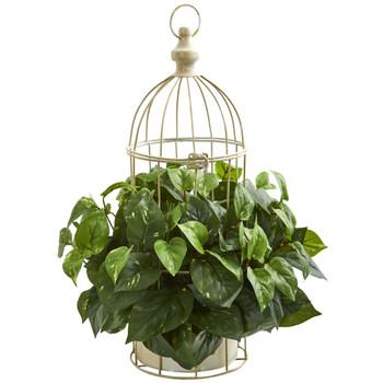 Pothos Artificial Plant in Decorative Bird Cage - SKU #8275