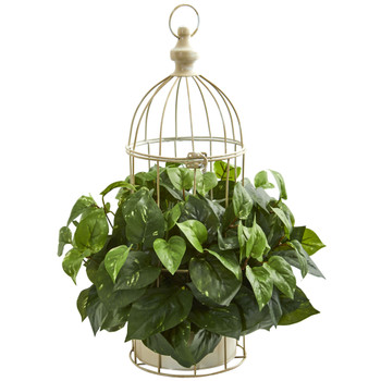 Pothos Artificial Plant in Decorative Bird Cage - SKU #8275