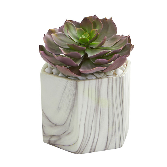 Echeveria Succulent Artificial Plant in Marble Vase - SKU #8304