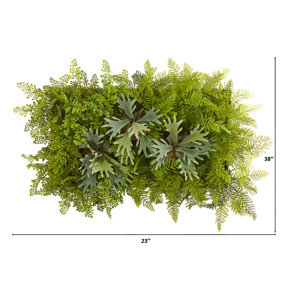 38 x 23 Staghorn and Fern Artificial Living Wall - SKU #8320 - 1