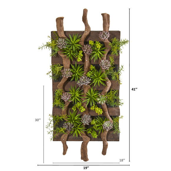 41 x 19 Mixed Succulent Artificial Living Wall - SKU #8321 - 1