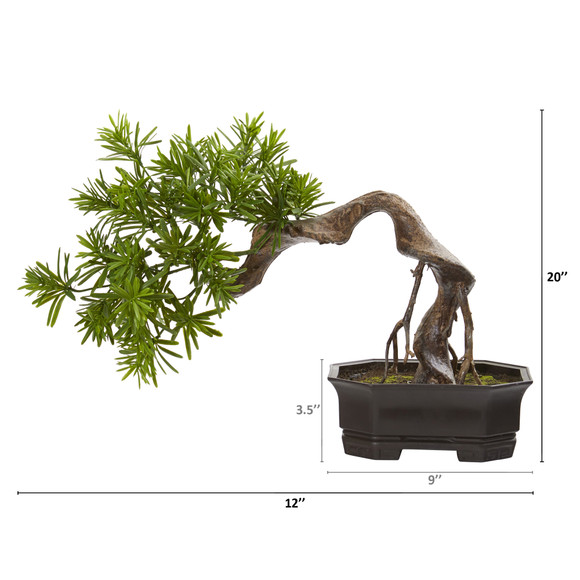 20 Bonsai Styled Podocarpus Artificial Plant - SKU #8323 - 1