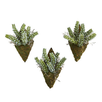 8 Sedum Succulent Artificial Wall Decor Plant Set of 3 - SKU #8330-S3