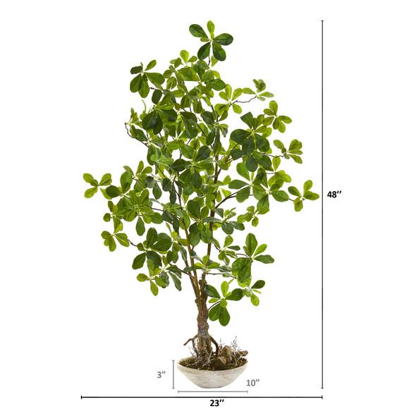 4 Schefflera Bonsai Artificial Plant in Planter - SKU #8335 - 1