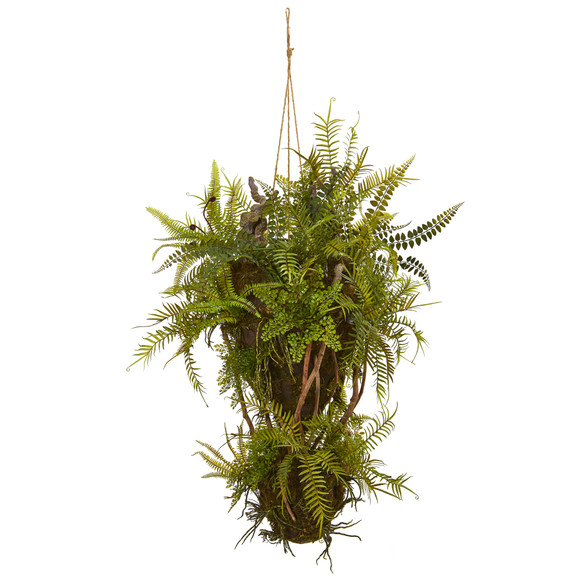 39 Mixed Forest Foliage and Fern Artificial Hanging Plant - SKU #8338