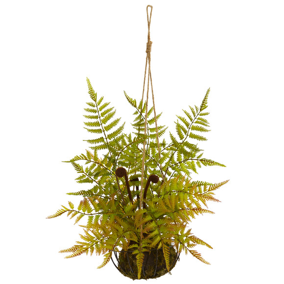 21 Fern Artificial Plant in Metal Hanging Basket - SKU #8339