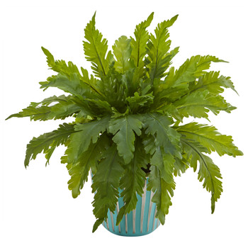 14 Fern Artificial Plant in Light Blue Planter - SKU #8345
