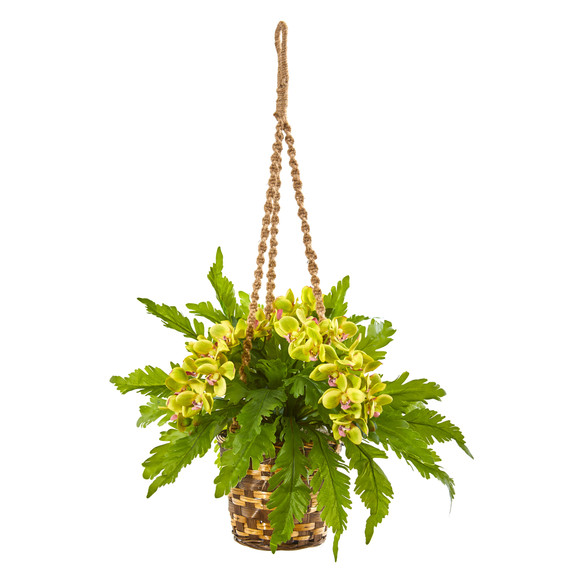 29 Phalaenopsis Orchid and Fern Artificial Plant in Hanging Basket - SKU #8346-GR
