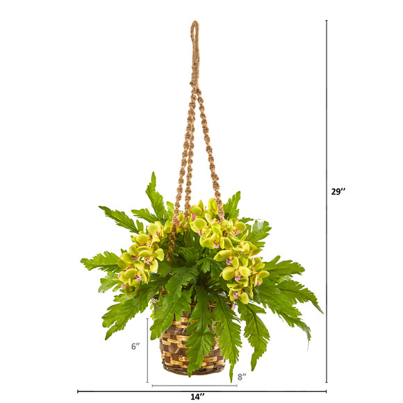 29 Phalaenopsis Orchid and Fern Artificial Plant in Hanging Basket - SKU #8346-GR - 1