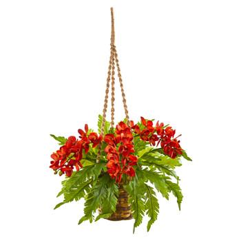 29 Phalaenopsis Orchid and Fern Artificial Plant in Hanging Basket - SKU #8346-OG