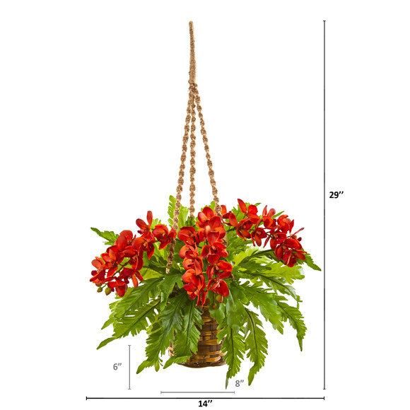 29 Phalaenopsis Orchid and Fern Artificial Plant in Hanging Basket - SKU #8346-OG - 1