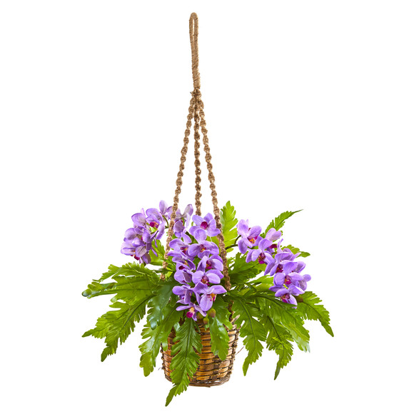 29 Phalaenopsis Orchid and Fern Artificial Plant in Hanging Basket - SKU #8346-PP
