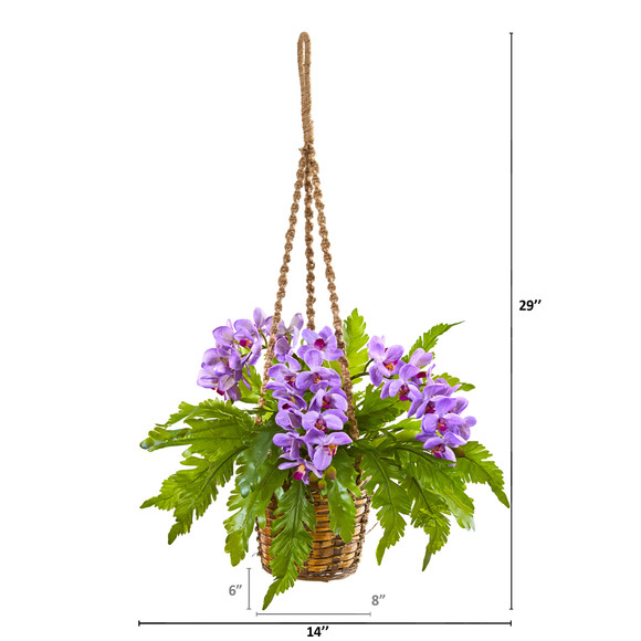 29 Phalaenopsis Orchid and Fern Artificial Plant in Hanging Basket - SKU #8346-PP - 1