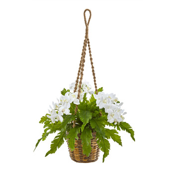 29 Phalaenopsis Orchid and Fern Artificial Plant in Hanging Basket - SKU #8346-WH