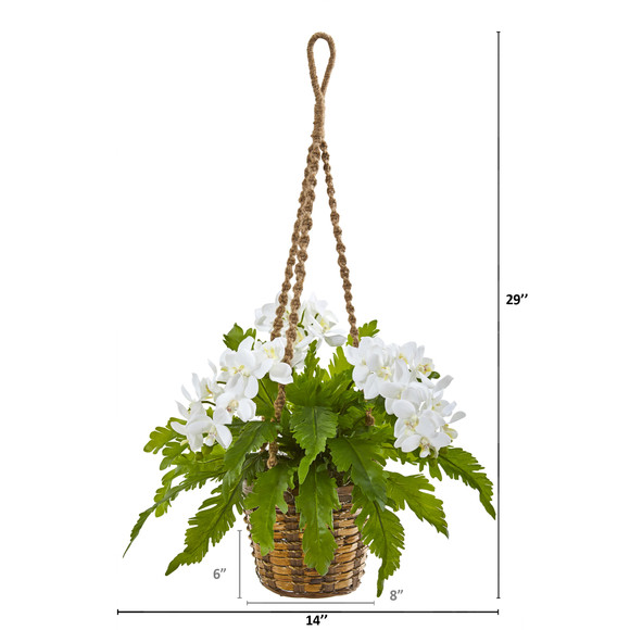 29 Phalaenopsis Orchid and Fern Artificial Plant in Hanging Basket - SKU #8346-WH - 1