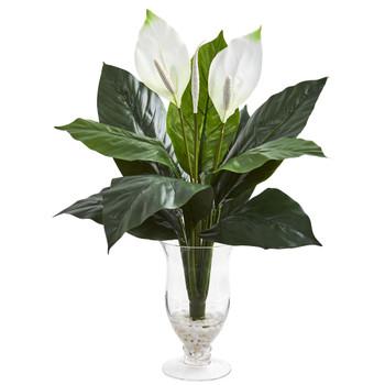 Spathifyllum Artificial Plant in Glass Vase - SKU #8348