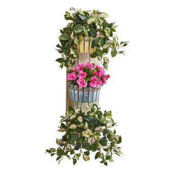 39 Azalea Hoya Artificial Plant in Wall Decor Planter - SKU #8349