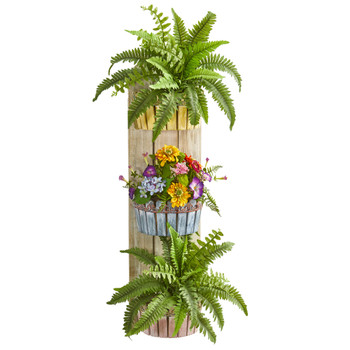 39 Mixed Floral Fern Artificial Plant in Three-Tiered Wall Decor Planter - SKU #8350
