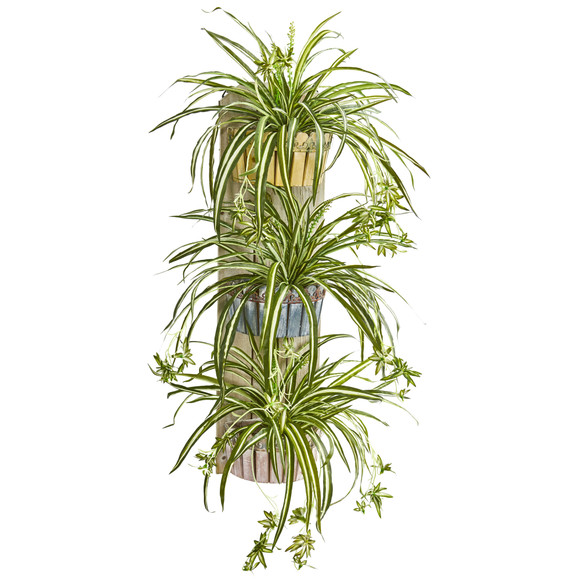 39 Spider Artificial Plant in Three-Tiered Wall Decor Planter - SKU #8351