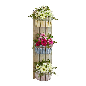 39 Mixed Daisy Artificial Plant in Three-Tiered Wall Decor Planter - SKU #8352