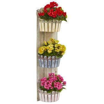 39 Geranium Artificial Plant in Three-Tiered Wall Decor Planter UV Resistant Indoor/Outdoor - SKU #8353