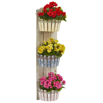 39 Geranium Artificial Plant in Three-Tiered Wall Decor Planter UV Resistant Indoor/Outdoor - SKU #8353