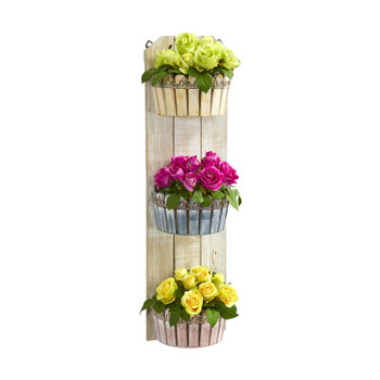 39 Rose Artificial Arrangement in Three-Tiered Wall Decor Planter - SKU #8354