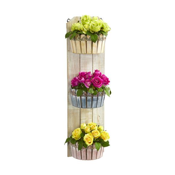 39 Rose Artificial Arrangement in Three-Tiered Wall Decor Planter - SKU #8354
