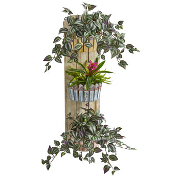 39 Bromeliad and Wandering Jew Artificial Plant in Three-Tiered Wall Decor Planter - SKU #8355