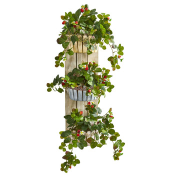 39 Strawberry Artificial Plant in Three-Tiered Wall Decor Planter - SKU #8356