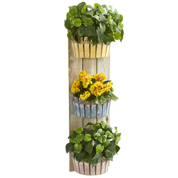 39 Geranium and Pothos Artificial Plant in Three-Tiered Wall Decor Planter - SKU #8357