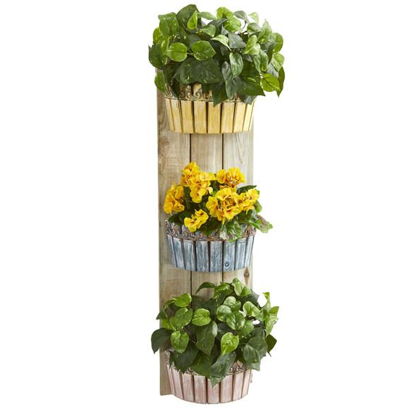 39 Geranium and Pothos Artificial Plant in Three-Tiered Wall Decor Planter - SKU #8357