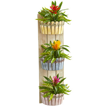 39 Bromeliad Artificial Plant in Three-Tiered Wall Decor Planter - SKU #8358