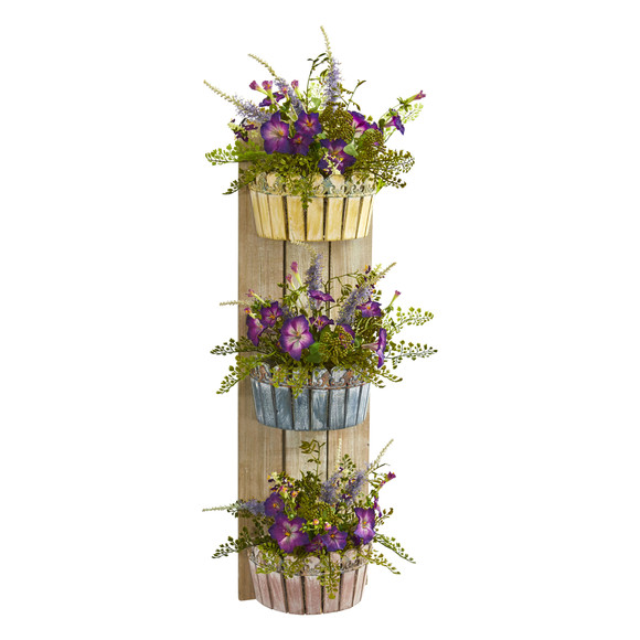 39 Morning Glory Artificial Arrangement in Three-Tiered Wall Decor Planter - SKU #8359