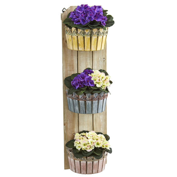 39 African Violet Artificial Plant in Three-Tiered Wall Decor Planter - SKU #8360