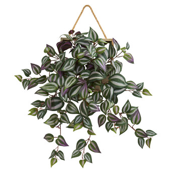 20 Wandering Jew Artificial Plant in Decorative Hanging Frame - SKU #8372
