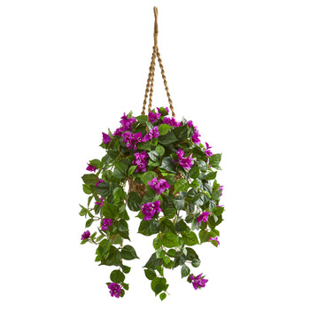 Bougainvillea Artificial Plant in Hanging Basket - SKU #8374