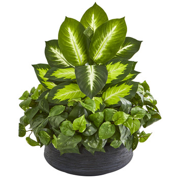 Golden Dieffenbachia Pothos Artificial Plant in Black Planter - SKU #8376