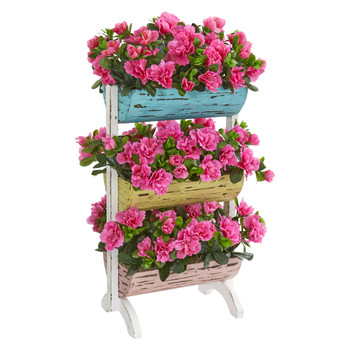 Azalea Artificial Plant in Farmhouse Stand - SKU #8377
